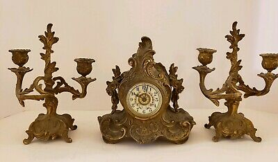 Antique Working 19th C. Waterbury Victorian 3 Pc. Candelabra Mantel Clock Set