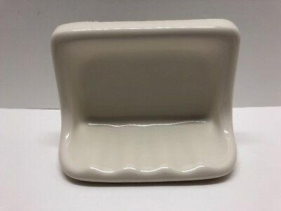 Vintage Art-Deco Cream White Ceramic Sink Soap Dish Wall Mount or Lay Down Ridge