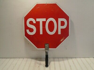 "Crossing Guard Stop Sign - Vintage Hand Held 18"" with handle"