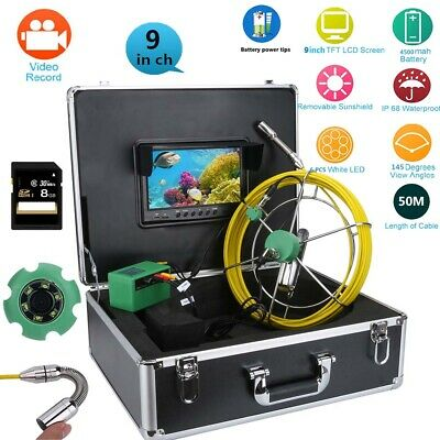 """9""""LCD DVR Pipe Inspection Video Endoscope Camera Drain Pipe Sewer System 1000TVL"""