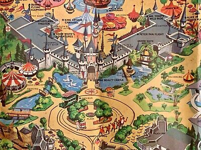 "Vintage Walt Disney Disneyland Park Map Poster 1968 30"" X 45"" Authentic"