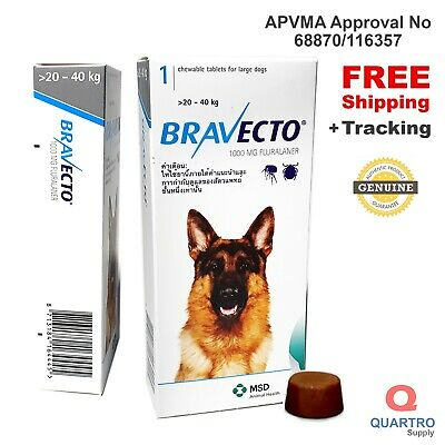 BRAVECTO Chew for Large Dogs 20-40 kg Blue Pack - EXP 04-2021 Genuine by MSD