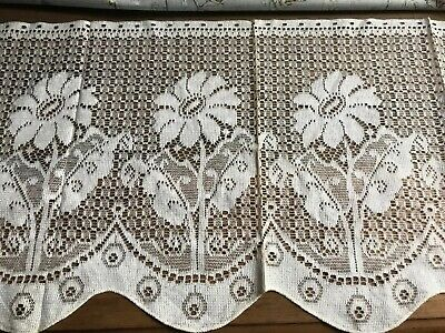 "36""x 17"" Vintage Art Deco period shabby chic cottage lace panel sample c1920s"