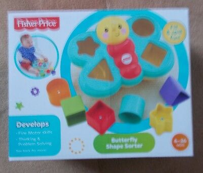 Fisher-Price - Butterfly Shape Sorter - 6 Shapes - New