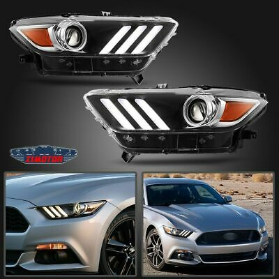 Fit 15-17 Ford Mustang Replacement Projector Headlights Headlamps Aftermarket