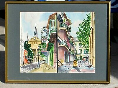 WILLIAM COLLINS New Orleans French Quarter Pair (framed as Diptych) watercolors