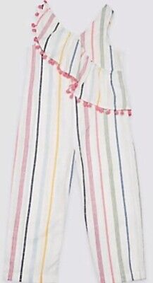 Marks & Spencer Girls Cotton Striped Pompom Jumpsuit  Aged 14-15 Years New