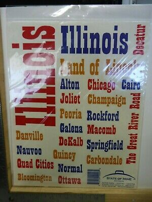STATE OF MINE ILLINOIS CITIES TOWNS WORD STICKERS SCRAPBOOKING NEW A16974