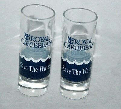 """2 Royal Caribbean 4 inch Tall Shot Glasses Double Shooter """"Save the Waves"""" NICE"""