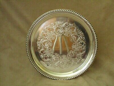 """Vintage WM Rogers 161 - 12"""" Round Serving Platter Silver Plated - Heavy and Nice"""