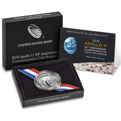 2019-S Proof Clad 50c Apollo 11 50th Anniversary Half Dollar, Box, OGP & COA