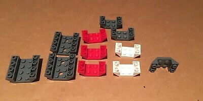 2 LEGO Red Slope 4 x 4 Double Inverted Open Centre 2 Holes 72454 4854