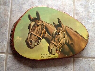Souvenir Mid Century Modern Lacquered Wood Horse Picture 1950 wall decoupage
