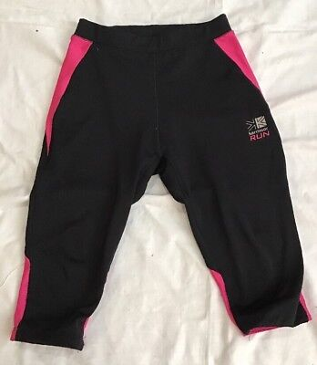 Black CROPPED LEGGINGS 11-12 Yrs Pink Sports Running Cycling KARRIMOR
