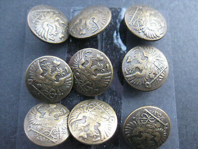 15mm Small  Antique Bronze Double Headed Eagle Vintage Sewing Buttons Set 9