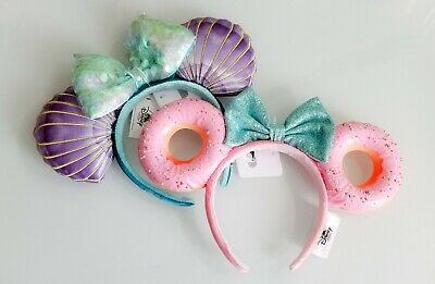 Disney Parks Pink Sprinkle Donut * Little Mermaid Ariel Minnie Ears Headband Set