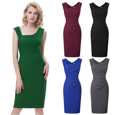 Lady 40s 50s Vintage Style Dress Party Dinner Cocktail Hips-Wrapped Pencil Dress