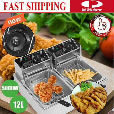 12 Liter Stainless Steel Dual Tank Commercial Countertop Deep Fryer Machine 5KW