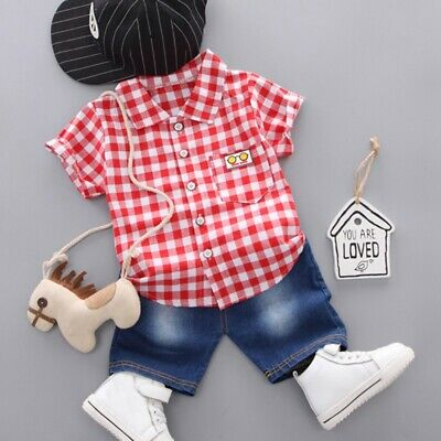 2pc Newborn Toddler Kids Baby Boys Girls short Sleeve T-shirt Tops+Pants sets