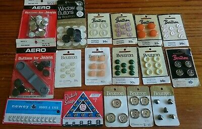 Vintage craft sewing accessories ~ SnapFasteners, hooks & eyes and buttons.