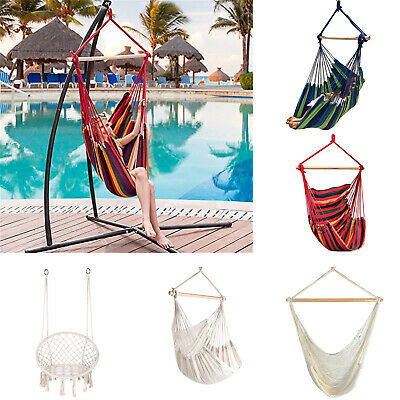 Outdoor Portable Hanging Swing Hammock Chair Solid Rope Yard Patio Porch Garden
