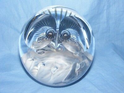 Caithness Glass Paperweight Great Grey Owl - Nice Present Birthday Gift - U13038