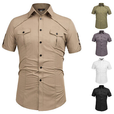 Clearance ~Casual Sleeve Formal Shirts Tops Mens Slim Short Button-down Military