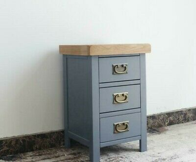 Grey Bedside Table / Painted Oak Bedside Cabinet / Solid Wood Narrow Blue Chest