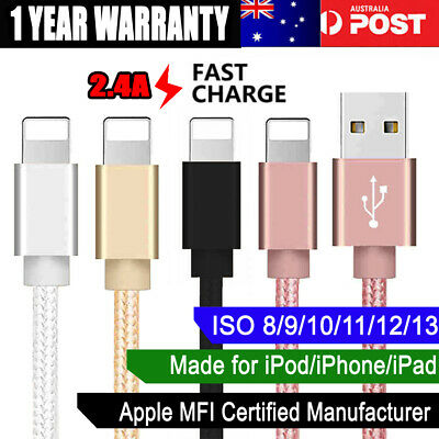 1M 2M 3M Apple Charger iPhone XS Max XR iPad iPod USB Lightning Cable Data Cord