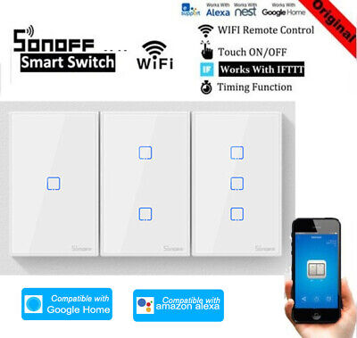 SONOFF WiFi Smart Wall Light Switch Timer For Google Home Alexa US Panel S3W4