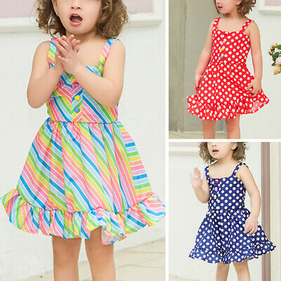 Clothes Kids Dress Striped Baby Toddler Girl Summer Beach Party Casual