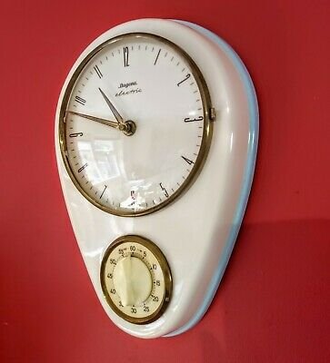 Dugena Electric Kienzle Ceramic Wall Clock Kitchen Timer 1960s Germany