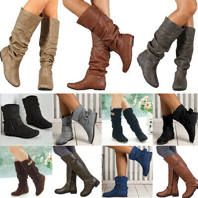 UK Womens Ladies Flat Low Heels Boots Casual Winter Warm Mid Calf Shoes Size 3-7
