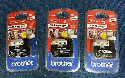 3 x New Brother M-K221BZ P-touch Labeling Tape Cassette White With Black Text 9m