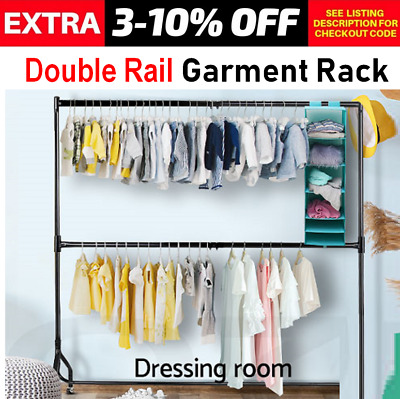Heavy Duty Portable Clothes Mobile Rack Bar Stand On Wheel Garment Hanging Rail