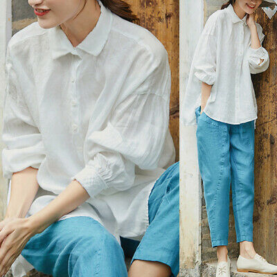 S-5XL Womens Cotton Long Sleeve Top Solid Button Down Casual Blouse Shirt Tshirt