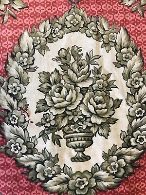 Superb Antique French Toile Floral Shabby Chic  panel c1900 80/60cms