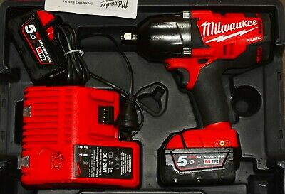 """MILWAUKEE 18V HIGH TORQUE 1/2"""" IMPACT WRENCH KIT M18CHIWF12 2x 5A BATTERIES CHAR"""