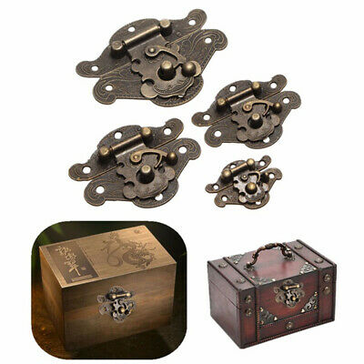 AU Antique Vintage Latch Catch Jewellery Box Hasp Gift Chest Lock Hook + Hinges