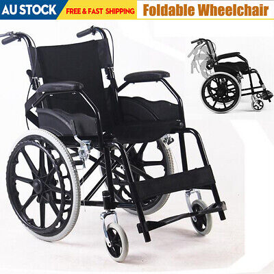 Folding Wheelchair +Park Brakes Lightweight Mobility Aid Transport for Dining AU