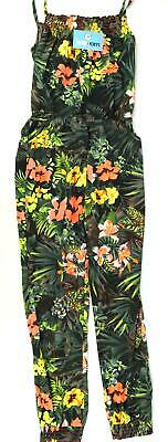 Kylie Girls Floral Black Tropical Bright Pink Green Orange Yellow Jumpsuit Age 1