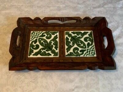 Vintage Folk Art Wood Handcrafted Carved Tray 2 Ceramic Tile Green French Style