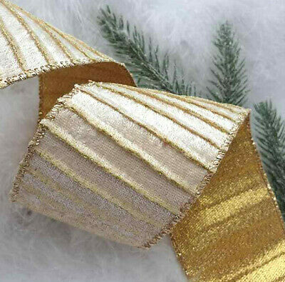 1m x 62mm LUXURY WIRED EDGE CHRISTMAS RIBBON CHAMPAGNE BEIGE /& GOLD WITH SPARKLE