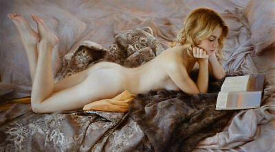 CHOP1083 Naked girl reading in bed hand painted oil painting art on canvas