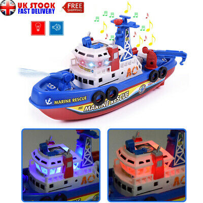 Flashing Electric Fire Boat Baby Boy Bath Toy LED Light Music Kids Excellent UK