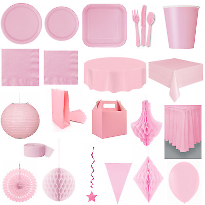 BABY PINK Party TABLEWARE - Plates/Cups/Cutlery/Napkins/Tablecovers/Balloons