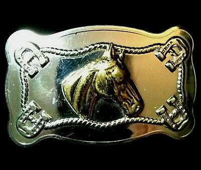 Vintage 1970s Horse Head Small Belt Buckle Cowboy Western Style Silver Colored