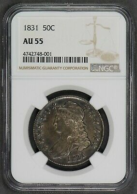 1831 50c CAPPED BUST HALF DOLLAR, NICE ORIGINAL COIN *LUSTER *NGC AU55* LOT#Q034