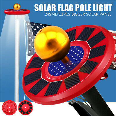 Solar Powered Flag Pole Light 26 LED Top Automatic All-Weather Outdoor Lamp  o