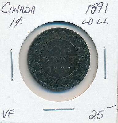 Canada Large Cent 1891 Ld Ll - Vf